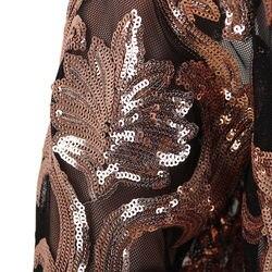 Cekiny kurtka kobiety z długim rękawem festiwal złota kurtka chaqueta znosić klubowa szczupła eleganckie panie topy długa strona peleryna 2