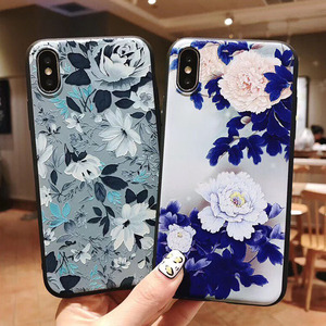 Image 4 - USLION 3D Emboss Flower Phone Case For iPhone 11 X XR Xs Max 8 Plus 11 Pro Max Camellia Rose Leaf Cover For iPhone 7 6 6S Plus
