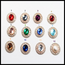 Free shipping 5pcs 32mm mix Diamond pearl Flat back metal buttons, garment accessories DIY Hair jewelry accessories,74