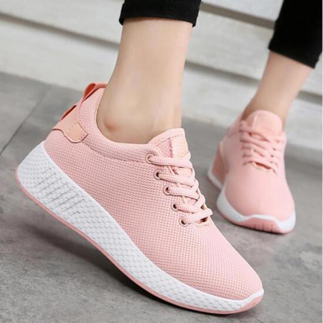 9f9d6f936e 2018 Primavera Designer Coreano Rosa Branca Tênis de Plataforma Mulheres  Sapatos Respirável Sapatos de Malha Mulheres