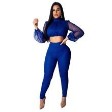 2019 Women Sexy 2 Piece Set Polka Dot Print Mesh Crop Top And Skinny Pants Party Club Outfits Women Set