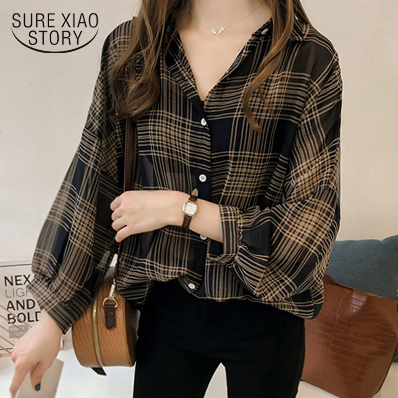 Blouse Shirt Women Tops Long-Sleeve Plaid OL Striped Plus-Size Fashion 4XL 1201 40 Blusas