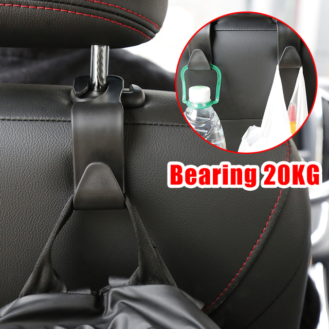 1pc Bearing 20kg Car Hook Car Seat Rear Hook Clip Auto Headrest Hanger Bag Holder Car Purse Cloth Grocery Storager Car Accessory