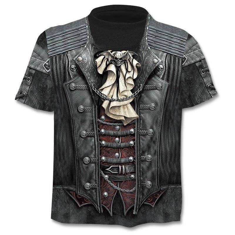 2019 Summer New 3d Skull T shirt Men Short sleeve shirt Funny T shirts Rock Japan Punk Anime Gothic Rock 3dT-shirt Mens Clothing