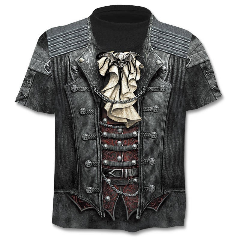 2019 verão nova 3d crânio t camisa masculina camisa de manga curta engraçado t camisas rock japão punk anime gótico rock 3dt-camisa dos homens roupas