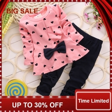 2016 Long sleeve bowtie T-sirt+ Pants baby girl clothes sweet girls suit 2pcs/set active suits wear party New Year gift
