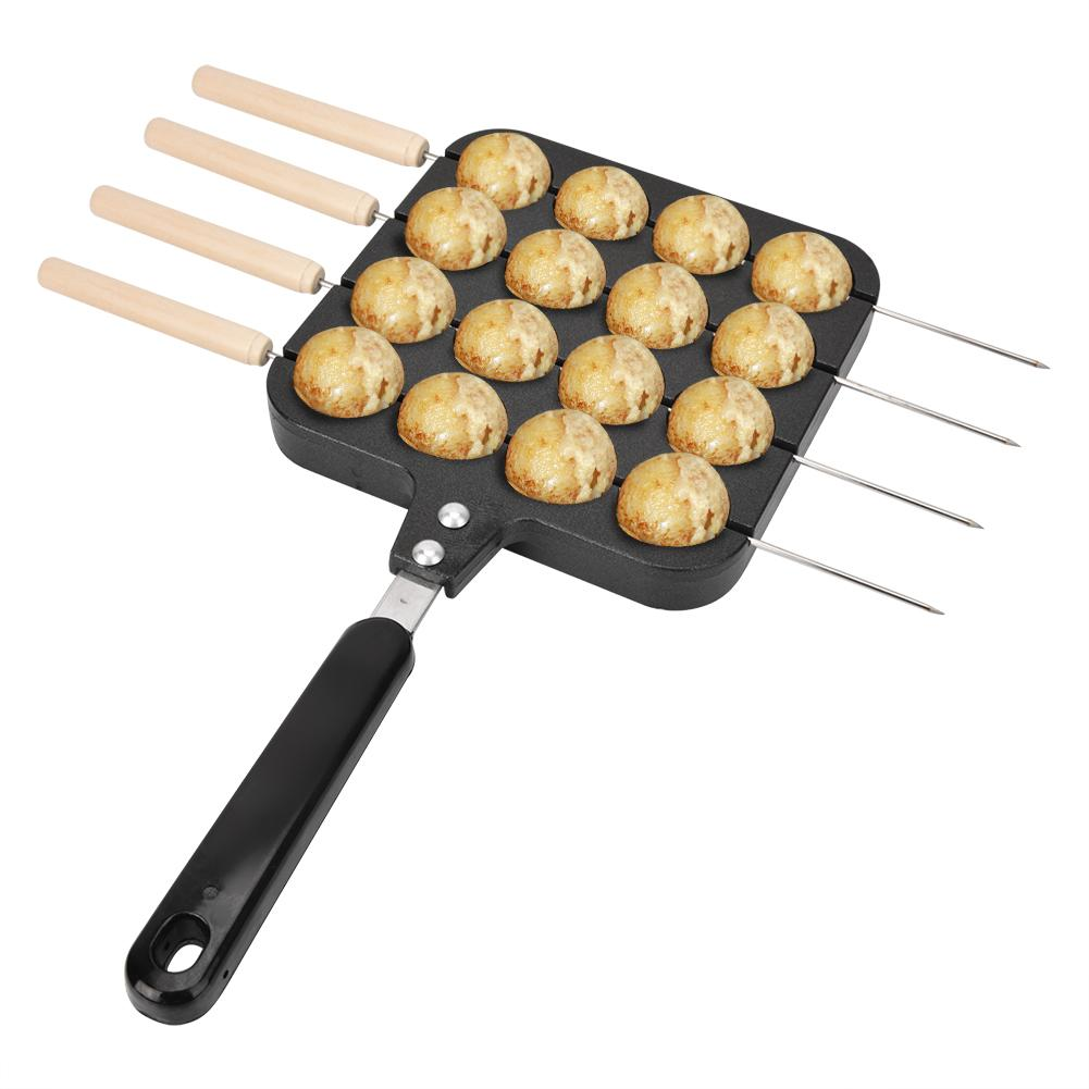 16 Holes Non-Stick Takoyaki Grill Pan Molde Cooking Grill Baking Pan With 4Pcs Baking Needle Cast Aluminum Takoyaki Baking Tray