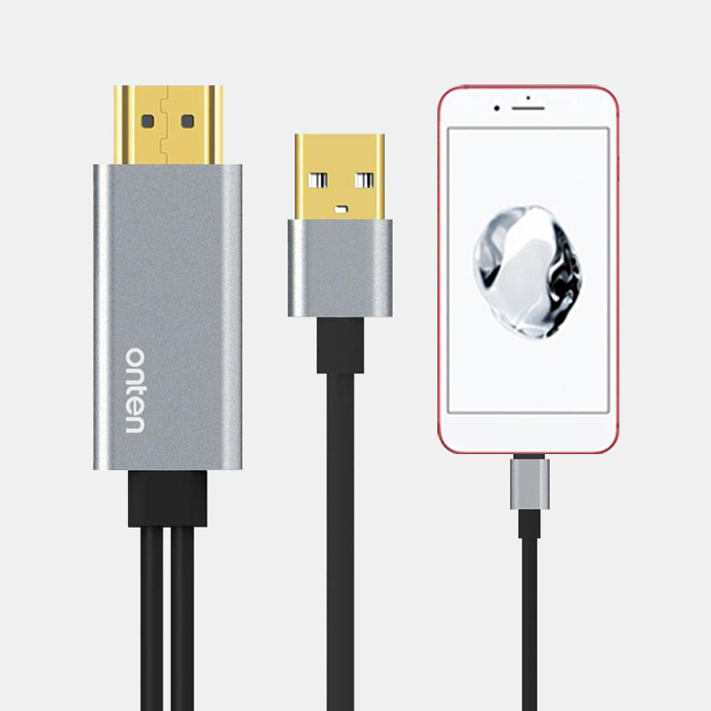 USB to HDMI Converter for <font><b>Lightning</b></font> to HDMI Mirror Cable Adaptador for <font><b>Apple</b></font> iPhone X 8 7 6S iPad HDMI TV <font><b>Digital</b></font> <font><b>AV</b></font> <font><b>Adapter</b></font> image
