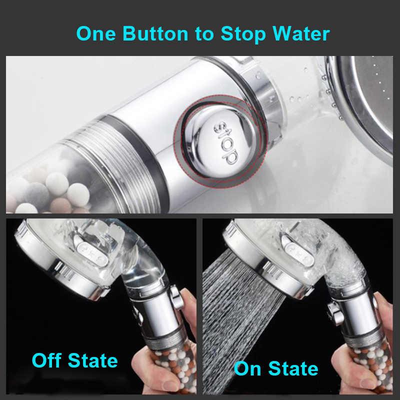 ZhangJi 3-funkcja głowica prysznicowa typu spa z zatrzymania przełącznik łazienka regulowany oszczędzanie wody Spray ABS Anion filtr prysznica