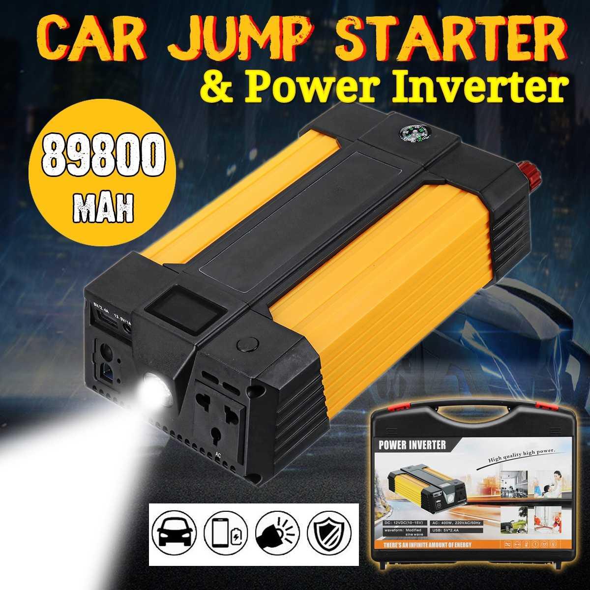 Démarreur de voiture 89800 mAh batterie externe 12 V Portable voiture Booster voiture démarreur avec fonction d'inverseur à onde sinusoïdale modifiée