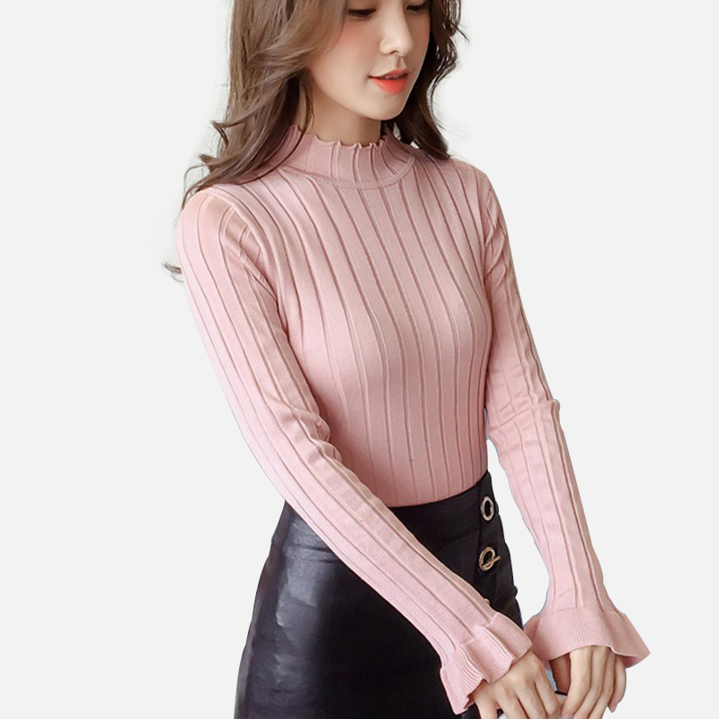 Fashion Rib Half High Neck Women Knit Sweater Femme Slim Fit Elasticity Pullover Solid Women Ruffle Sleeve Tops Autumn Winter in Pullovers from Women 39 s Clothing