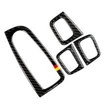 For Mercedes Benz C Class W205 C180 C200 C300 GLC260 4pcs Carbon Fiber Car Window Switch Armrest Panel Cover