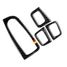 Para mercedes benz classe c w205 c180 c200 c300 glc260 4 pçs de fibra carbono interruptor da janela do carro painel braço capa