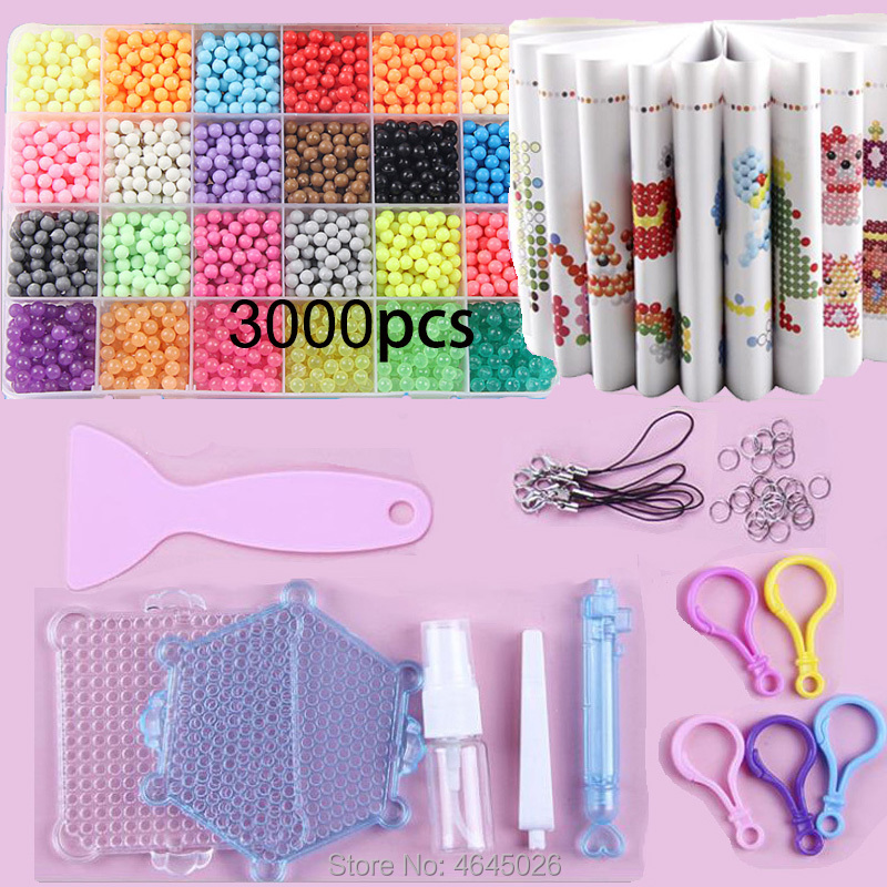 Fuse Beads Magic Water Beads DIY set jigsaw Pegboard 3d puzzle kids toys for Children Girls Gift 8 10 years Pen Tweezer Tool