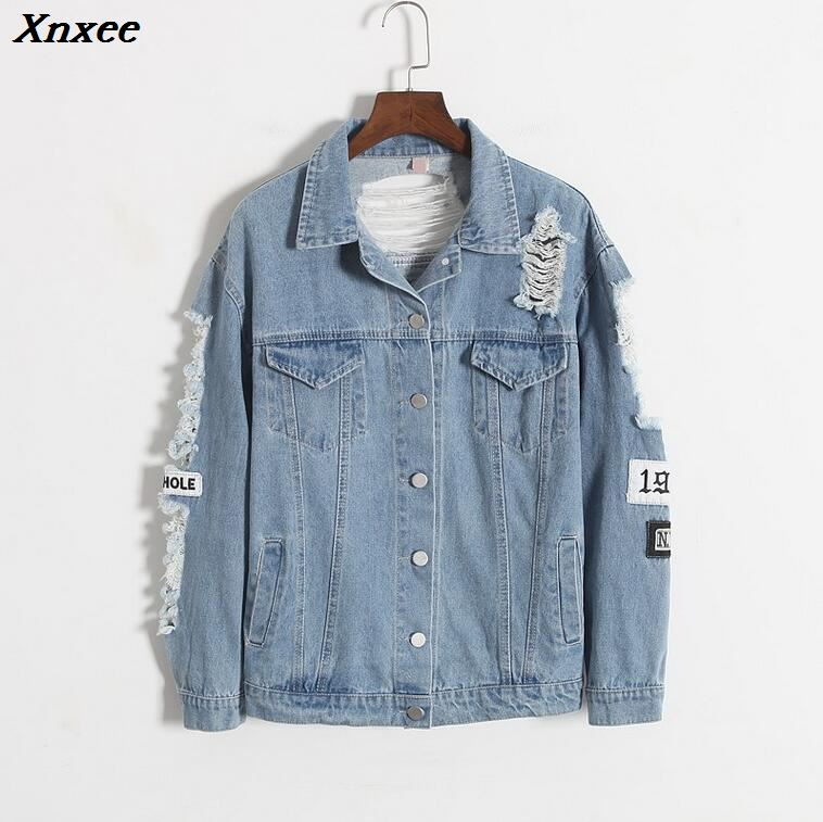 Where is my mind Korea Kpop retro frayed embroidery letter patch bomber jacket women Blue Ripped Distressed Denim Coat Female in Jackets from Women 39 s Clothing