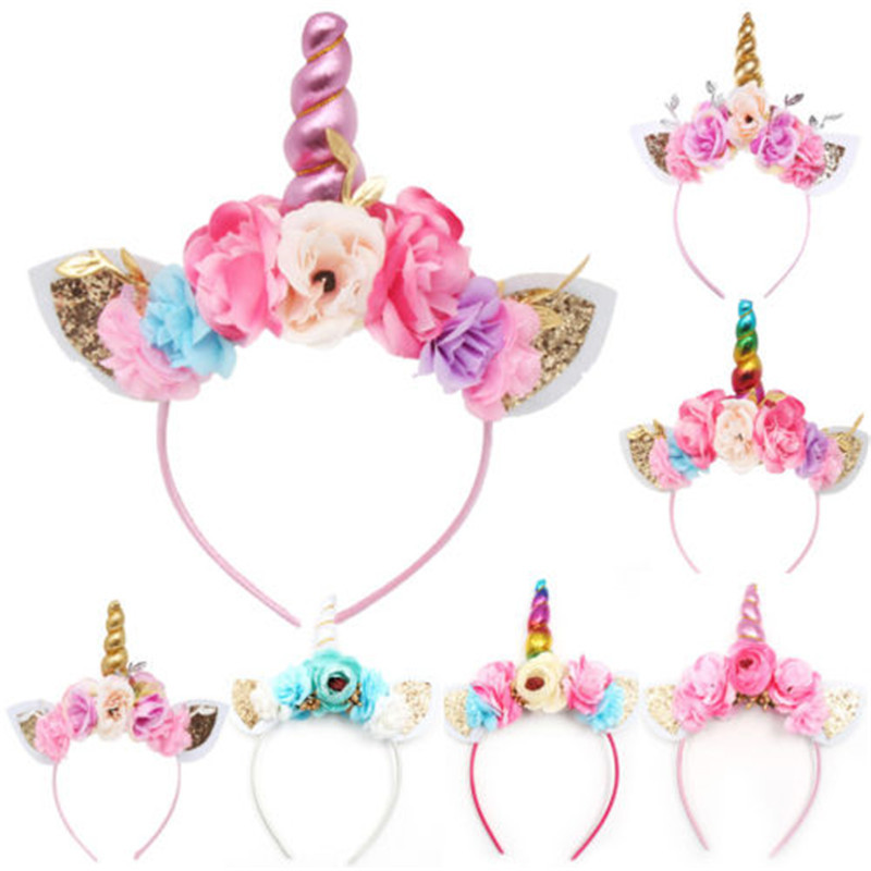 Brand New 2018 Women Kids Party Gold/Silver Unicorn Horn Headband Flower Horn Girls Headwear Birthday Hairband Hair Accessories