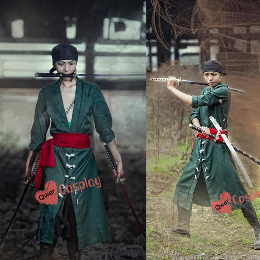 Anime One Piece Roronoa Zoro Cosplay Costume Outfits Unisex Adult Halloween Party Fight Suits Clothes (Coat+Pants+Belt+Scarf)