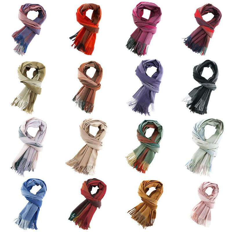 Gradient Cashmere   Scarf   Winter Autumn Warm Women Tassel   Scarves     Wraps   Shawl