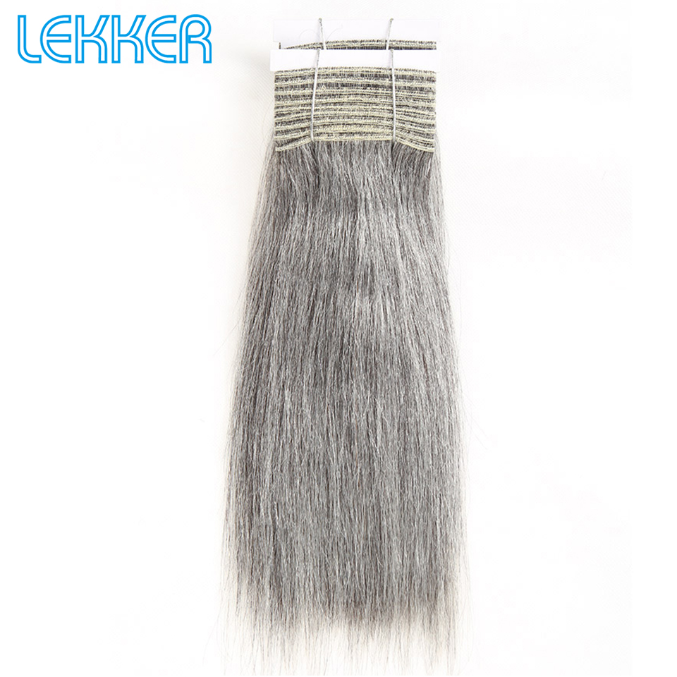 Lekker Natural Gray Brazilian Straight Weave Hair Bundles 100G Ash Grey Human Hair Bundles Sliver Remy Human Hair Weave