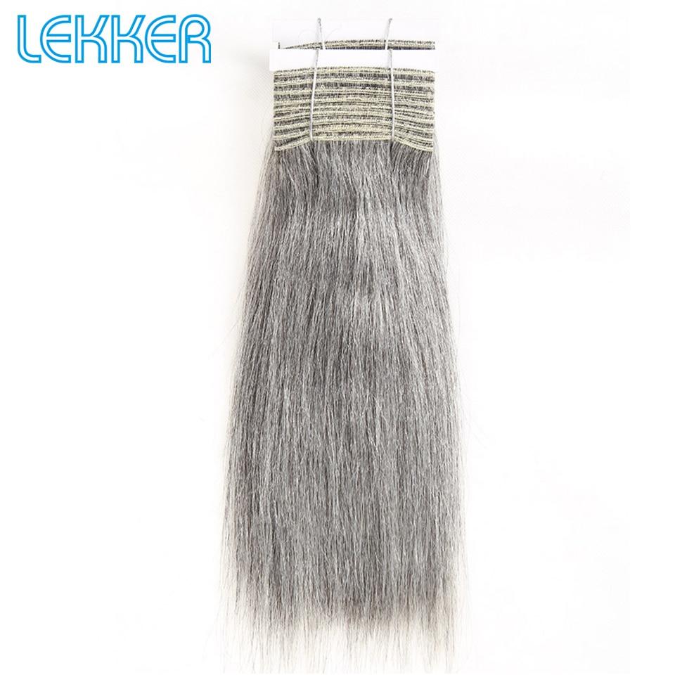Lekker Natural Gray Brazilian Straight Weave Hair Bundles 100G Ash Grey Human Hair Bundles Sliver Remy Human Hair Weave