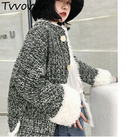 TVVOVVIN 2019 Spring Autumn New Women Casual Plaid Fur Korean Tops Women's Wool Coat Tweed Homespun E502