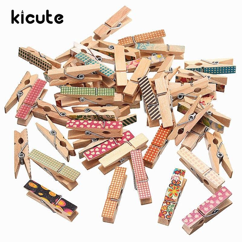 Kicute 50pcs Cartoon Mini Wooden Memo Paper Clip For Album Photo Wood Clips  For Clothespin Craft Decoration Clips Pegs 3.5cm