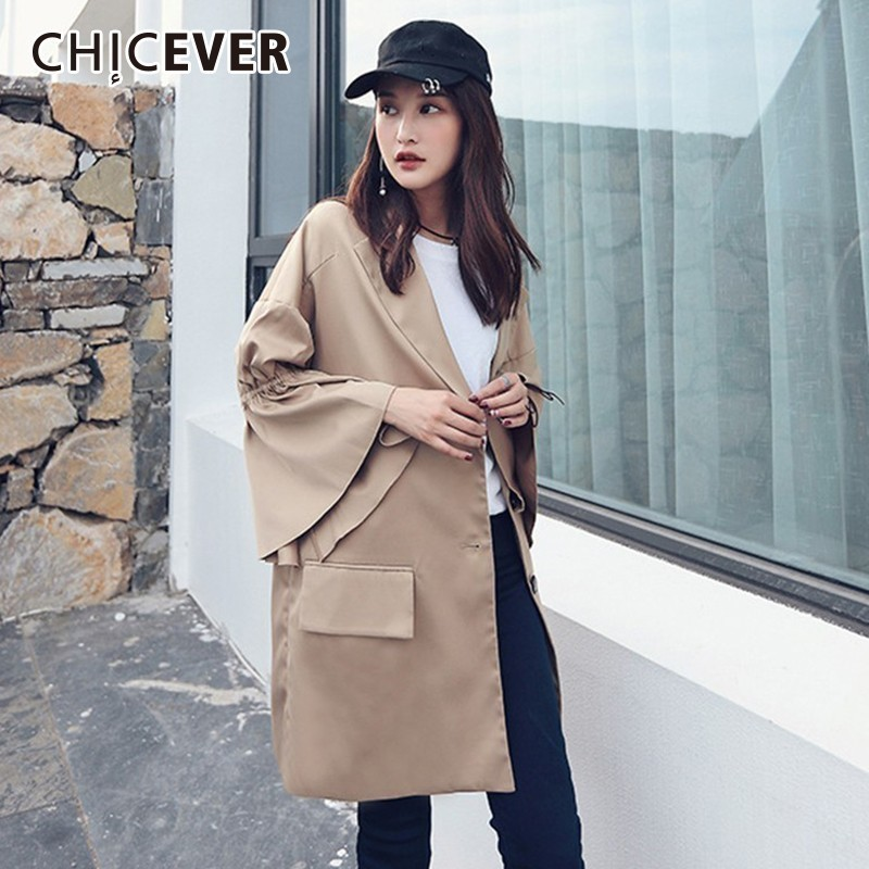 CHICEVER 2018 Autumn   Trench   Coat For Women's Windbreaker Oversize Flare Sleeve Loose Big Size Coats Female Fashion Clothes New