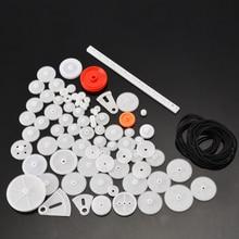 81PCS DIY Plastic Gear Bag Cog Wheel Assorted Kit For Toy Car Motor Shaft Model Crafts Making Rack With Belt Rubber Band