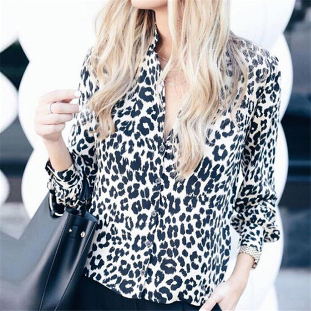 Sexy Leopard Print Shirt Women Long Sleeve Shirts Ladies Shirts And Blouses Button Shirt Casual Turn Down Collar Leopard Blouses 3