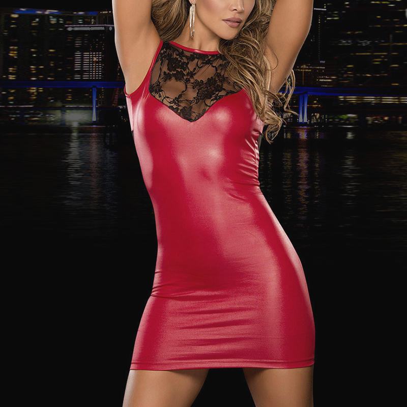 Women Shiny Faux Leather <font><b>dress</b></font> Wetlook Round Neck Lace <font><b>Mini</b></font> Tank Bodycon <font><b>Dresses</b></font> Plus Size <font><b>club</b></font> <font><b>wear</b></font> M-4XL for woman cloth image