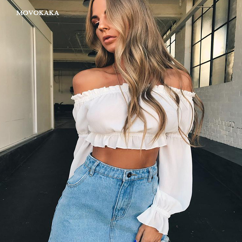 Hot New Sexy Blouse Women Chiffon Shirt Fungus Off Shoulder Crop Top Summer Long Sleeve Fashion Woman blouses 2019 Shirt Women