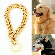 15mm Diameter Pet Dog Choke Chain Choker Collar Gold Plated Necklace Stainless Steel Training Collar 14/16/18/20/22/24/26 Inch(China)