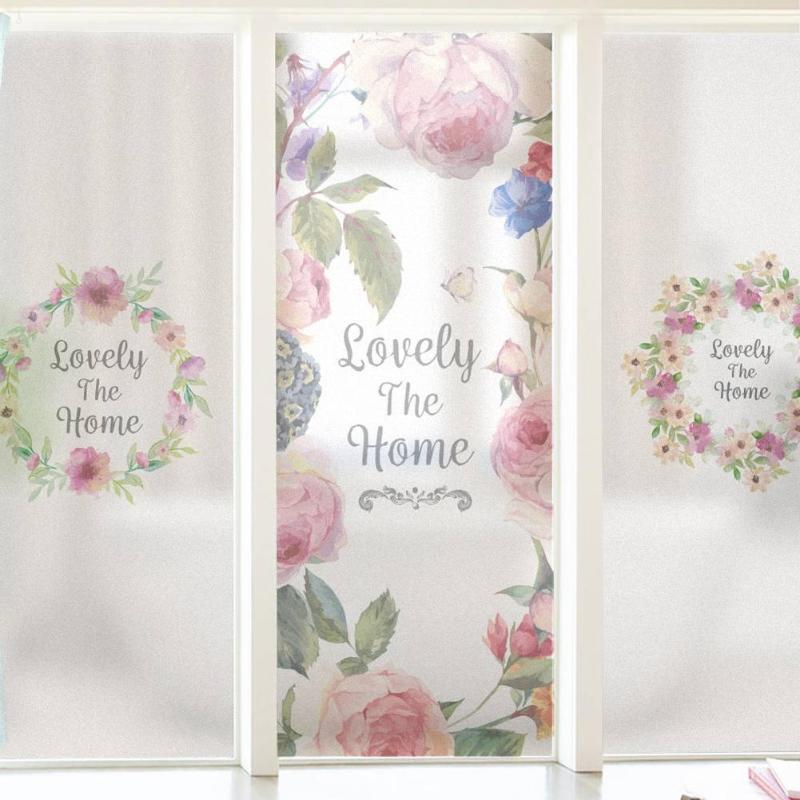 900*580mm 3D Beautiful Garland Print Window Cover Films Thicken PVC Waterproof Window Glass Frosted Film Anti UV Bathroom Props image