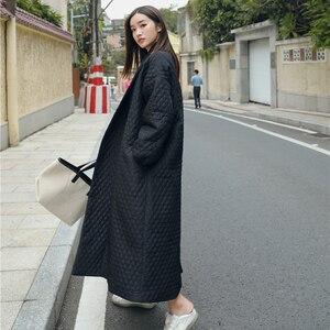 Image 3 - LANMREM חדש רחוב דק סגנון שחור Oversize דש חזרה Vent כפתור 2020 נקבה של ארוך כותנה מעיל Jaqueta Feminina WTH1201