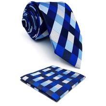 Blue Checkes Mens Neckties Dress Classic Pocket Square Set Gift Extra long size Party