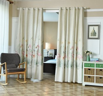 WINLIFE Linen Blackout Curtains for Bedroom 84 Inches Long 2 panels Embroidery Curtains Cloth