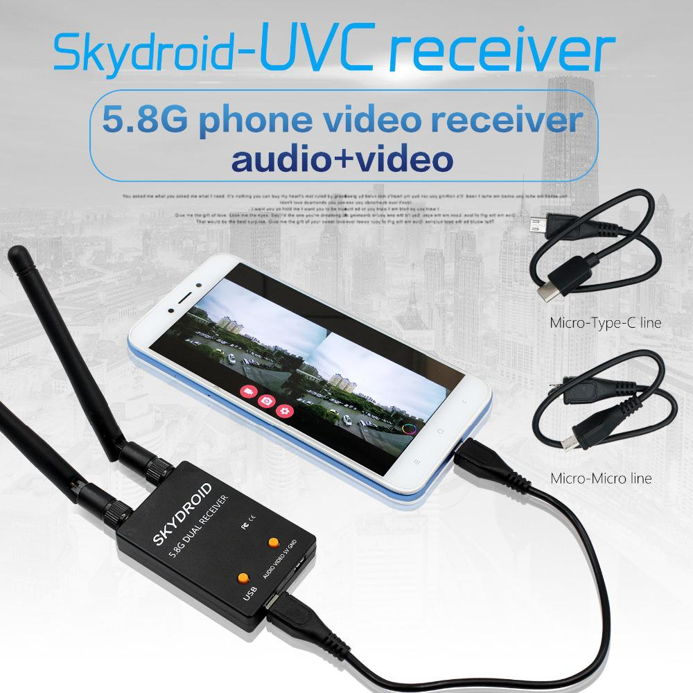 RCtown SKYDROID UVC Dual Antenna Control Receiver OTG 5.8G 150CH Full Channel FPV Receiver W/Audio For Android Smartphone