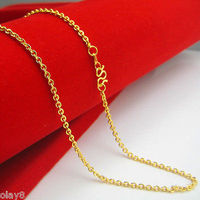 Solid Pure 999 24K Yellow Gold Necklace Women's Lucky O Chain 2.8 3g 16.5inch