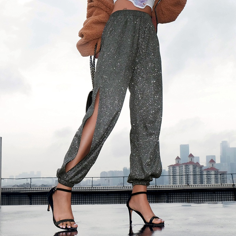 HOUZHOU Summer Women Side Split High Waist Harem Pants Streetwear Sexy Joggers Twinkle Elastic Waist Loose Casual Full Length