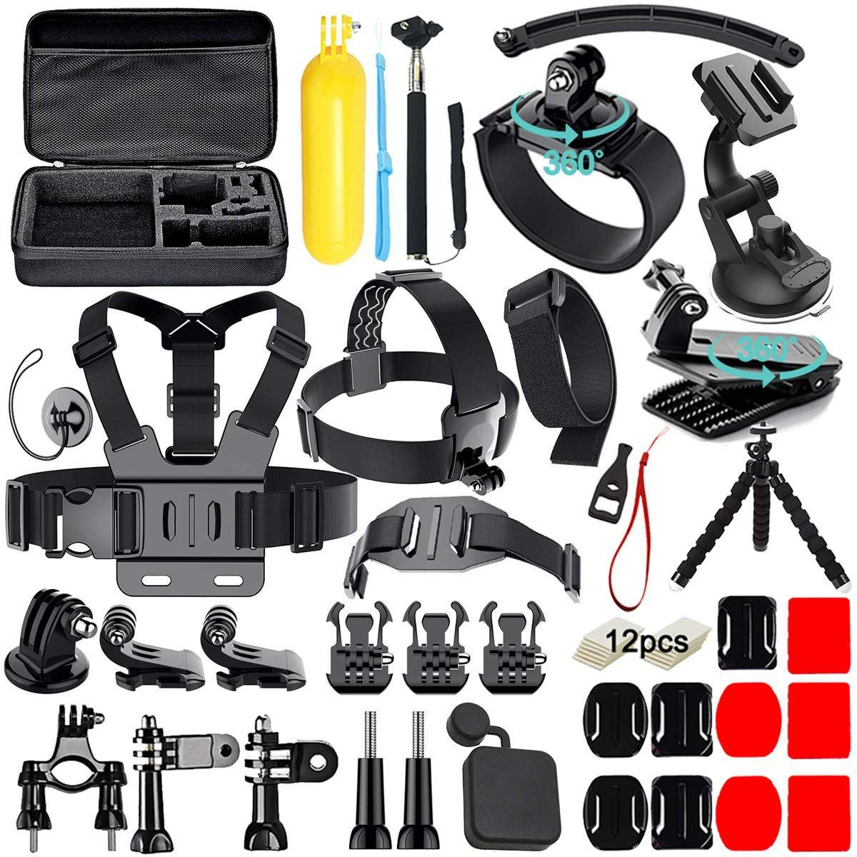 50 in 1 Action Camera Accessories Kit for GoPro Hero 2018 GoPro Hero6 5 4 3 Carrying Case Chest Strap Octopus Tripod in Sports Camcorder Cases from Consumer Electronics