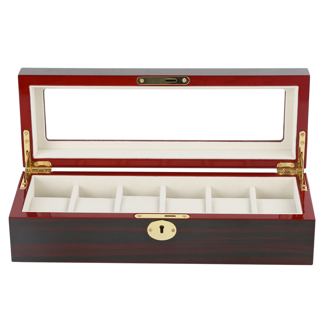 JEYL 6-slot Wine Red Solid Wood Watch With Lock Storage Box