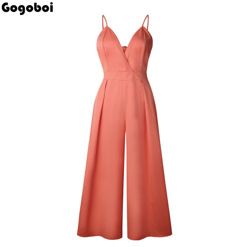 Summer Rompers Womens Jumpsuit 2018 Arrival Long Playsuit Casual Loose Sexy Backless Overalls Plus Size Hot Sale