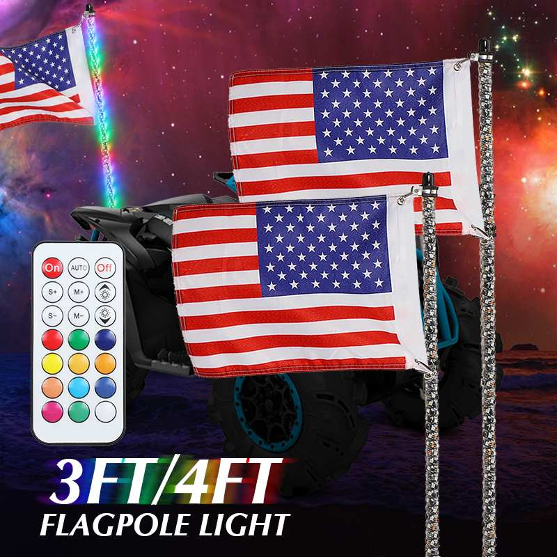 3 4FT RGB Waterproof Bendable Wireless Remote Control Super Bright LED Flagpole Lamp Light 30 45W