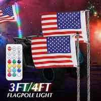 RGB de 3/4 pies impermeable flexible Control remoto inalámbrico Super brillante LED lámpara de asta de luz 30-45W/35-55W DC12V + Bandera de América
