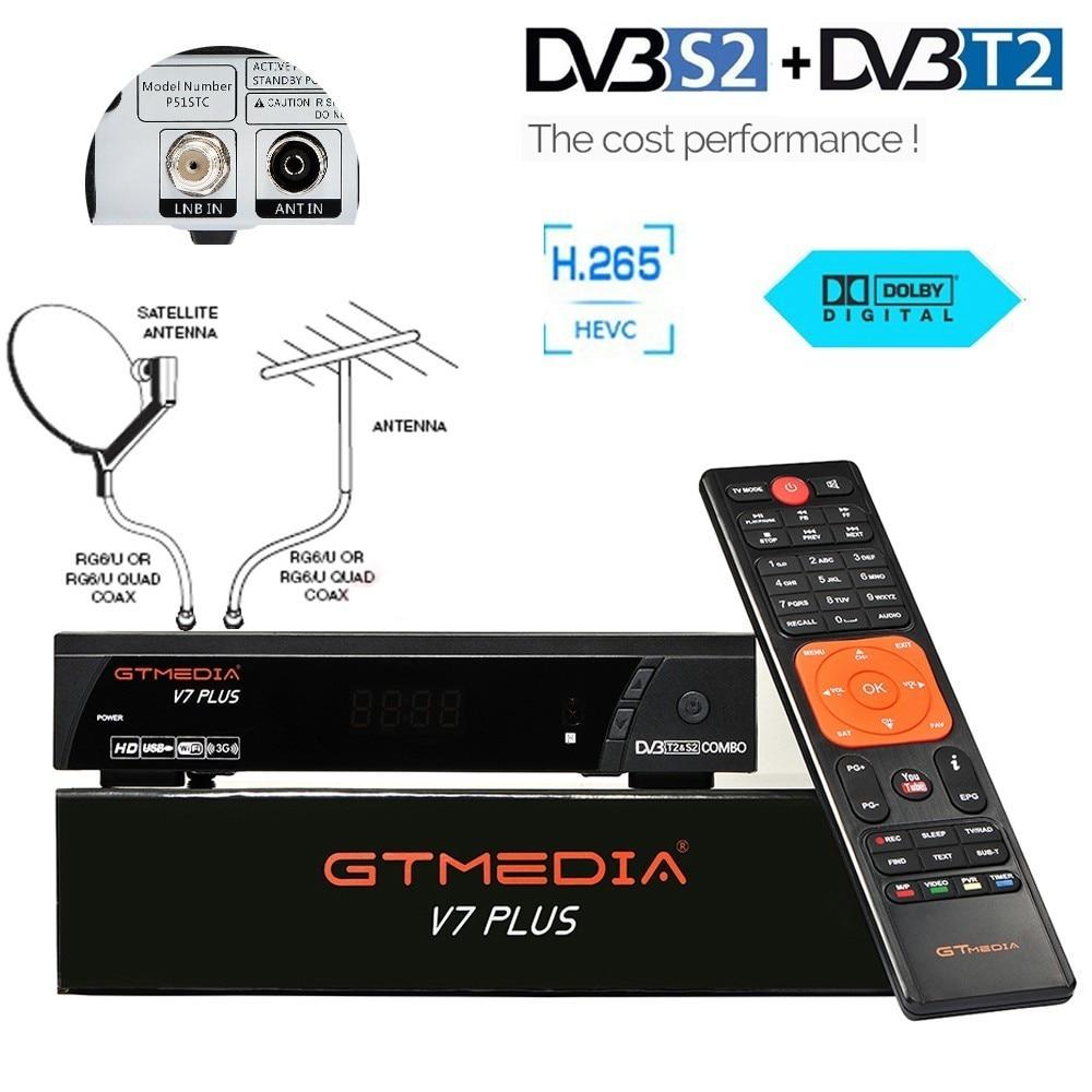 Ale HD V7 Plus boîtier TV numérique DVB T2 Tuner dvb-t2 dvb-s2 combiné récepteur Satellite récepteur H.265 BissVu Youtube USB Wifi IPTV