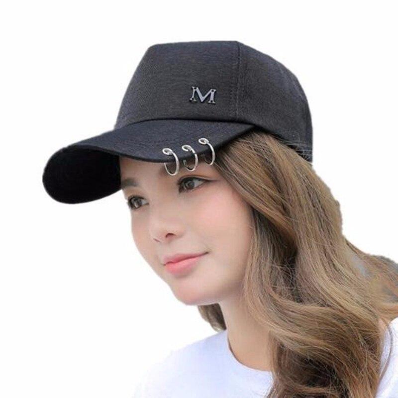 2019 New Metal Letter M Lron Ring Pink black Classic 5 Panel Women   Baseball     Cap   Ladies Youth Snapback High Quality   Baseball     Cap