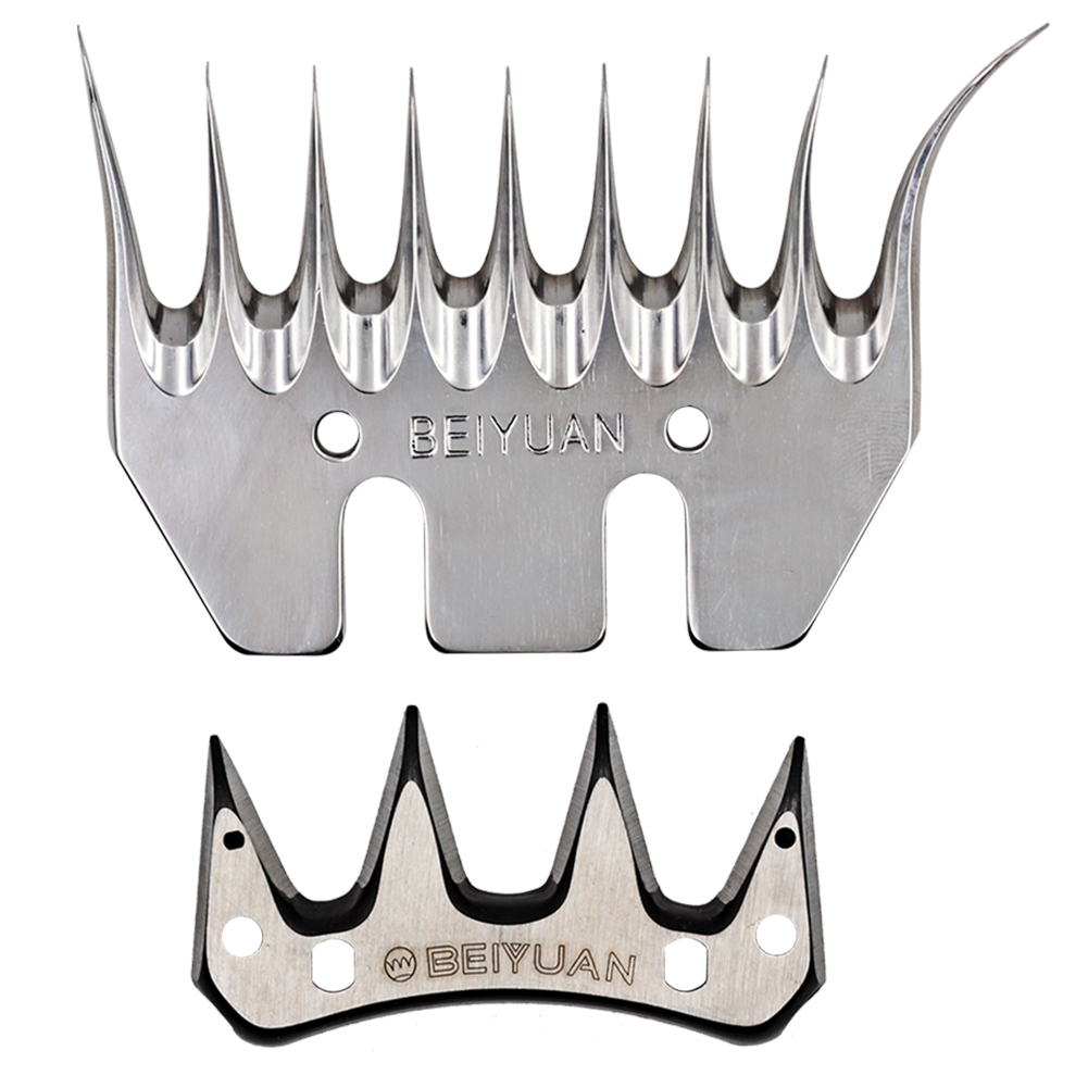 BEIYUAN 9 Tooth Sheep Shearing Clippers Blade Staright and Elbowl Goat Shears Convex Comb Cutter Shearing Clipper Tooth Blade