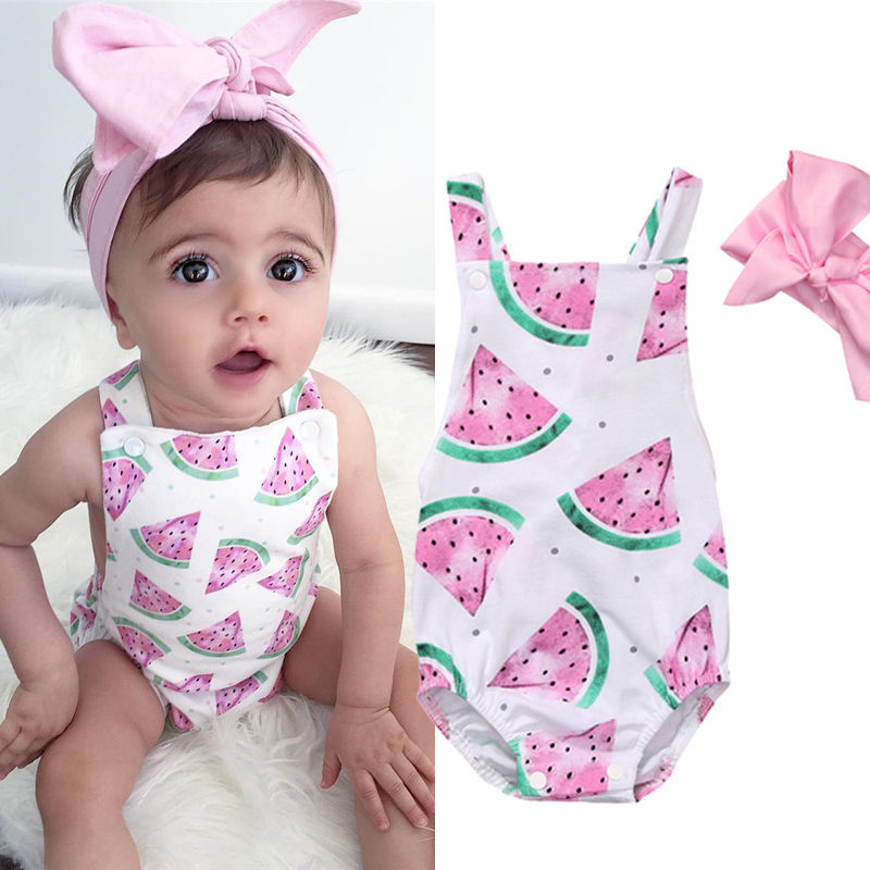 2019 Hot Cute Watermelon Print Newborn Baby Girl Kids Backless Cross Body Baby   Romper   Headband Clothes Outfits 0-24M