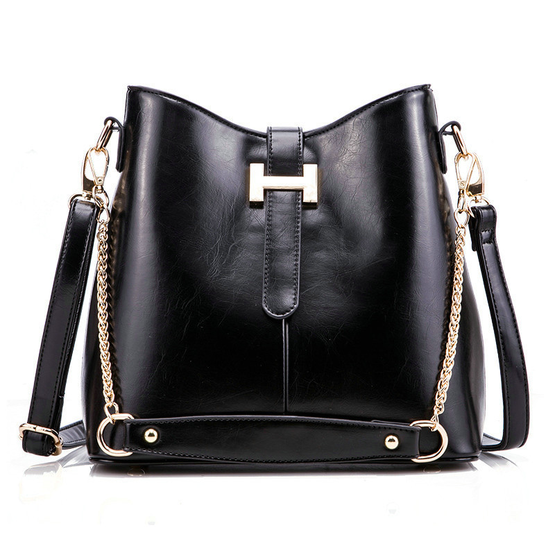 Kajie Women Messenger Bags Genuine Leather Bucket Sac A Main Shoulder Bags Lady Crossbody Bag Girl Belt Chain High Quality Totes