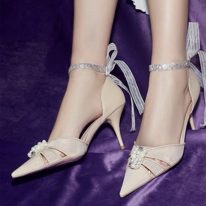 Moraima Snc 2019 New Fashion High Quality Woman Summer Shoes Pointed Toe Pearl Crystal Decor Lady High Thin Heels SandalsMoraima Snc 2019 New Fashion High Quality Woman Summer Shoes Pointed Toe Pearl Crystal Decor Lady High Thin Heels Sandals